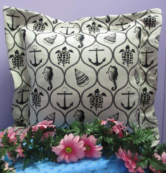 Pillow Cover Handmade Monogrammed White Nautical Print-FREE SHIPPING