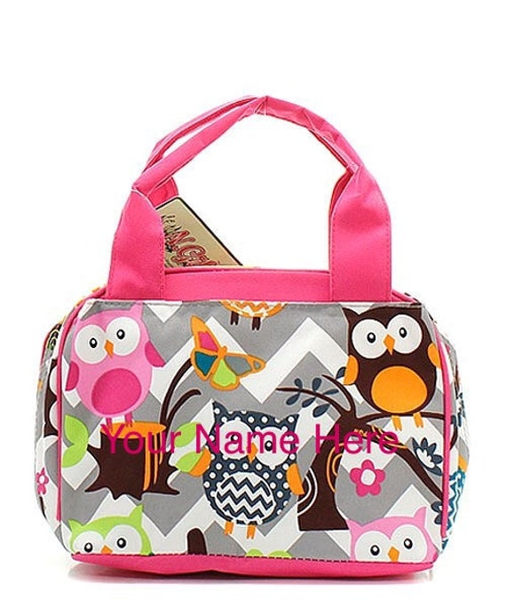 Insulated Lunch Bag Personalized Grey Chevron Print and Hot Pink accent with Owls FREE SHIPPING