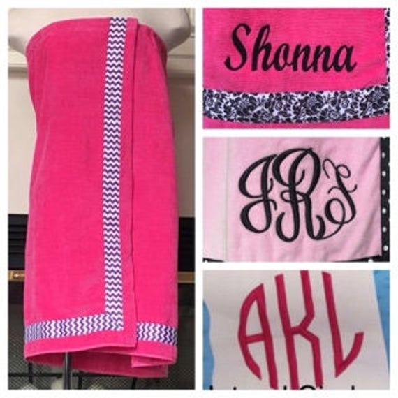 Spa Wrap Personalized Womens Hot Pink Towel Wrap With Accent Ribbon