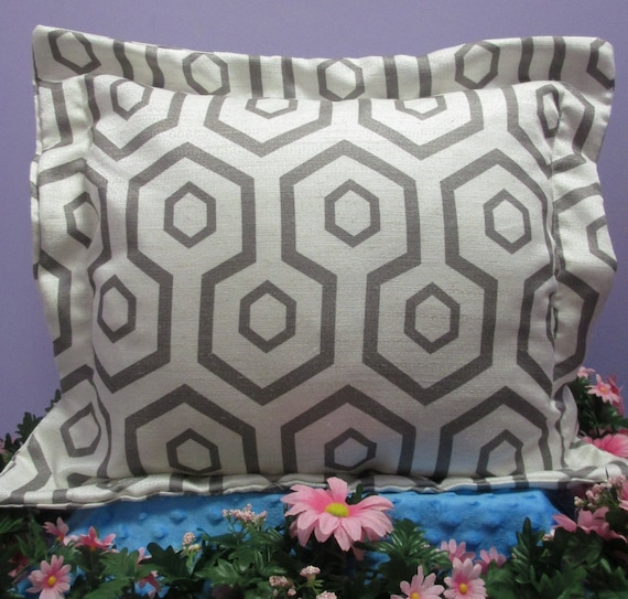 Pillow Cover Monogrammed Handmade Grey Geometric Print-FREE SHIPPING