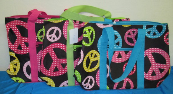 Oversized Tote Bag ONE LEFT* Personalized Multi-Colored Peace Sign with Green Accent