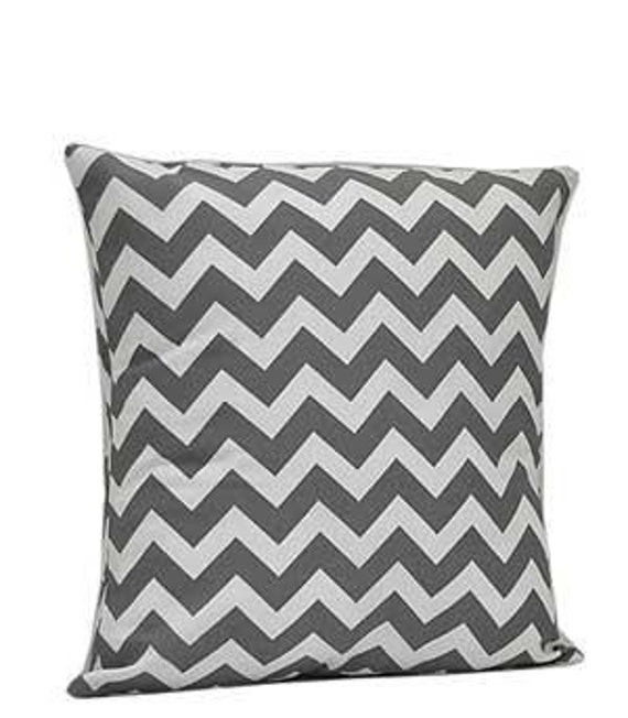 Pillow Cover Monogrammed Grey Chevron Print
