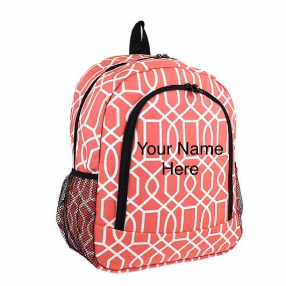 Backpack Coral Vine Print with Personalized Embroidery
