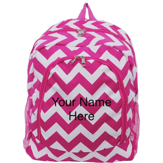 Backpack Hot Pink Chevron Print with Personalized Monogram