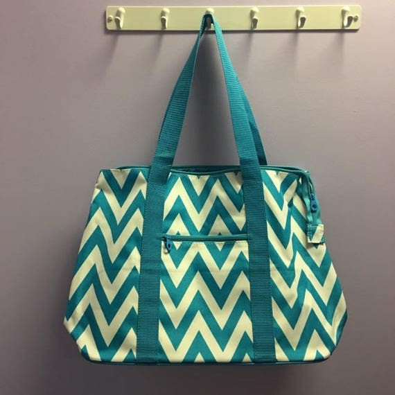 Turquoise Chevron Personalized Oversized Tote Bag