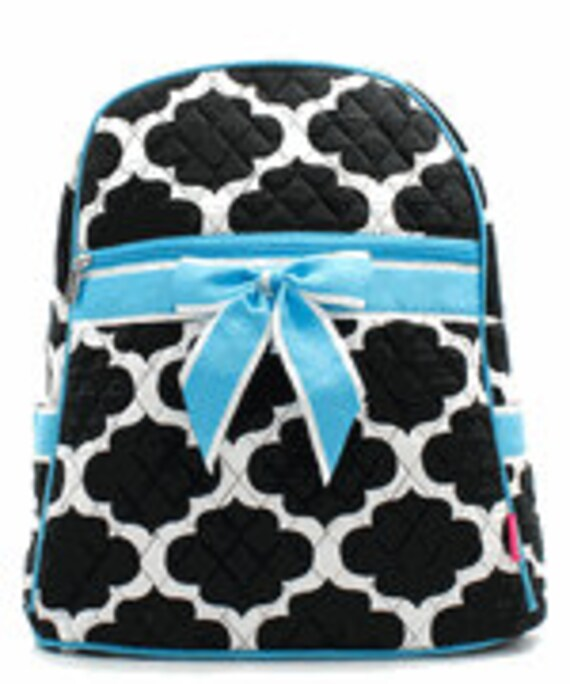 Personalized Black Quatrafoil Quilted Backpack With Turquoise Ribbon