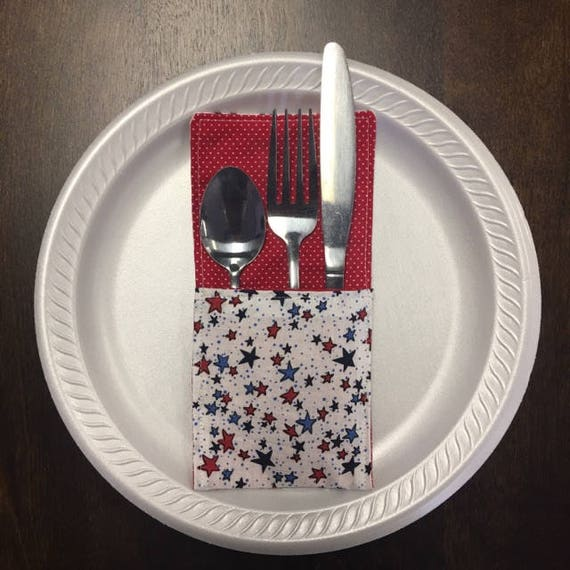 Patriotic, Stars with Red Dot Pattern Fabric Silverware Holder