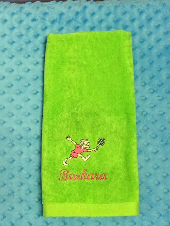 Tennis Towel Personalized With Old Lady-FREE SHIPPING