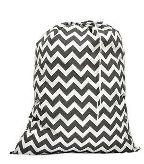 Grey Chevron Print Laundry Bag with Personalized Embroidery