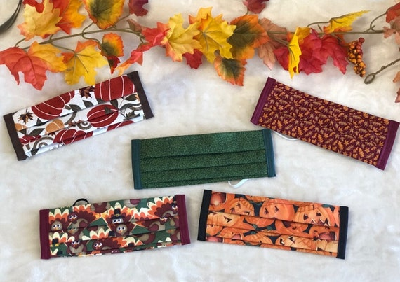 Fall Fabric Adult Face Mask, Washable, 3 layers - PICKUP in Tulsa area or low shipping cost