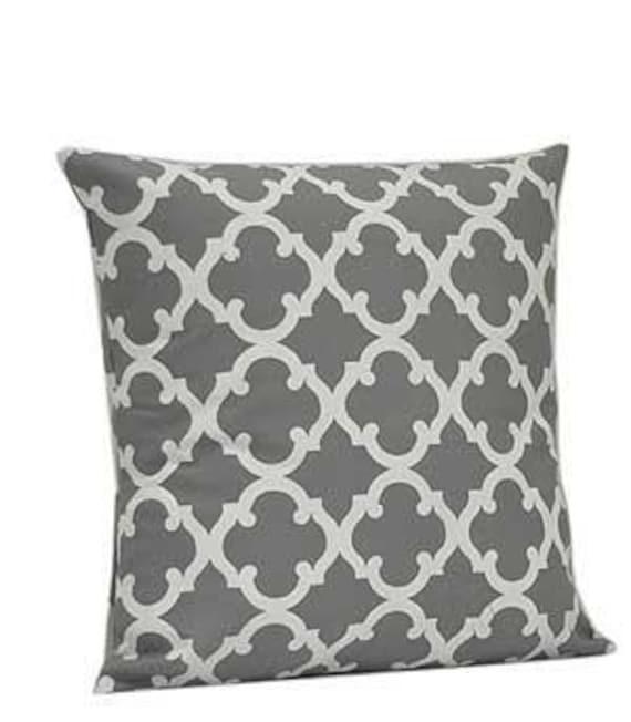 Pillow Cover Monogrammed Grey Quatrefoil Print