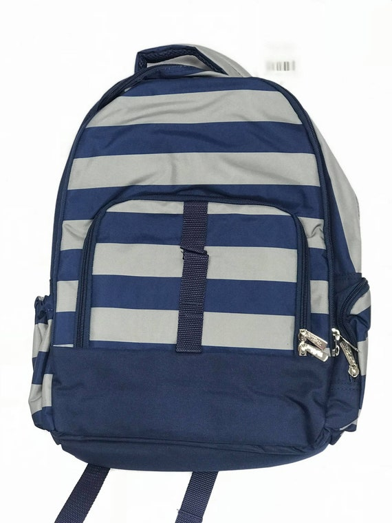 Monogrammed Backpack, PersonalizedNavy Grey Stripe Bookbag, Back to School, School Bookbag, Backpack Bundle, Lunchbox, Back to School Bundle