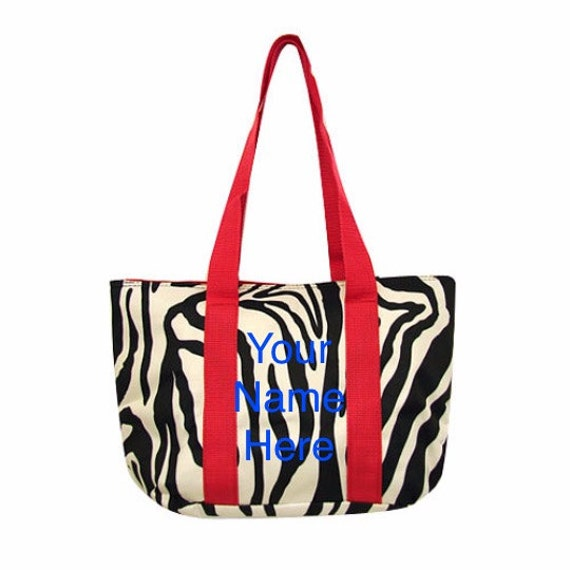 Insulated Round Lunch Bag SALE* Personalized Red Zebra Print  *LIMITED QUANTITY*