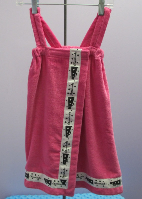 Towel Wrap Child's Personalized Embroidered Size Small Hot Pink with Accent Ribbon