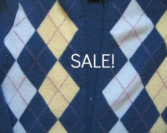 DIY Supply - Felted Wool Sweater - Blue Argyle - Recycled Fabric Material