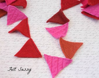 Garland Bunting - Triangles - Recycled Wool Sweaters - by FeltSassy