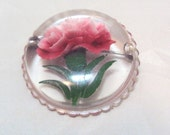 Reverse Carved Lucite Pin with Pink Carnations