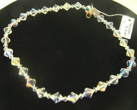Vintage Mid Century 1950s Multi Faceted Austrian Rhinestone Crystals Delicate Single Strand Silver Pot Metal Clip Clasp Bracelet