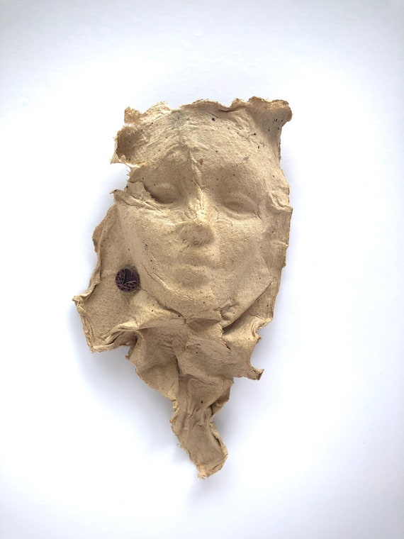face sculpture art face handmade paper paper sculpture home decor