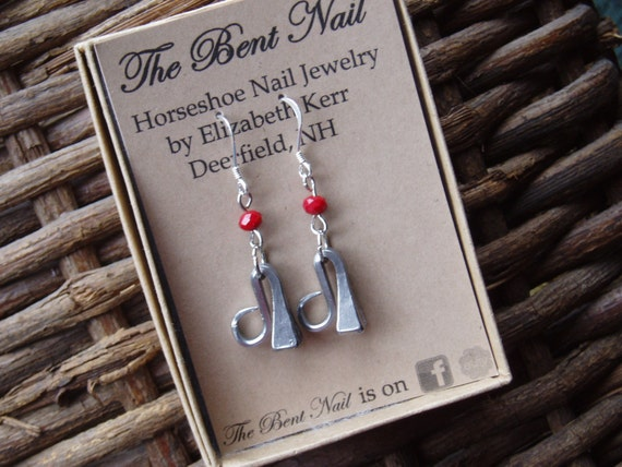3eda01f4f Horseshoe Nail Earrings on Sterling Earwire with Red Bead | Etsy