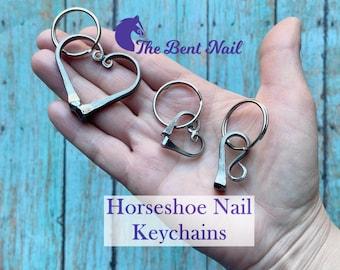 Horseshoe Nail Equestrian Keychains