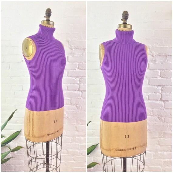 90s y2k minimalist bright purple ribbed knit cotto