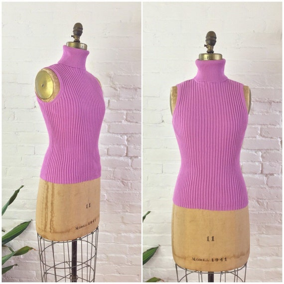90s y2k minimalist purple pink ribbed knit cotton