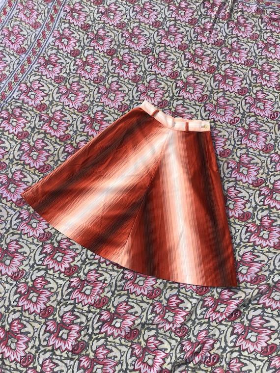 70s ombré gradient striped skirt / 1970s a line ru