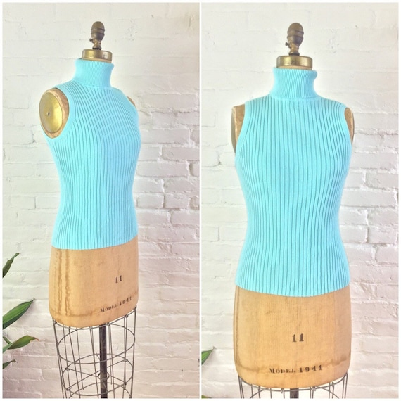 90s y2k minimalist aqua blue ribbed knit cotton sl