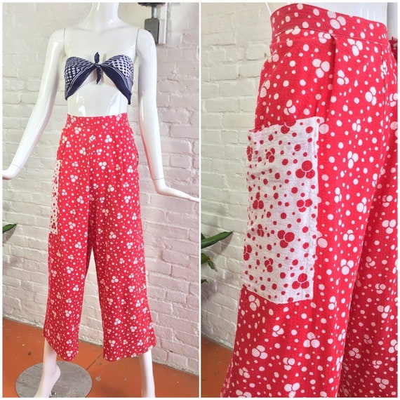 Vintage 1940s pants / 40s red and white polka dot