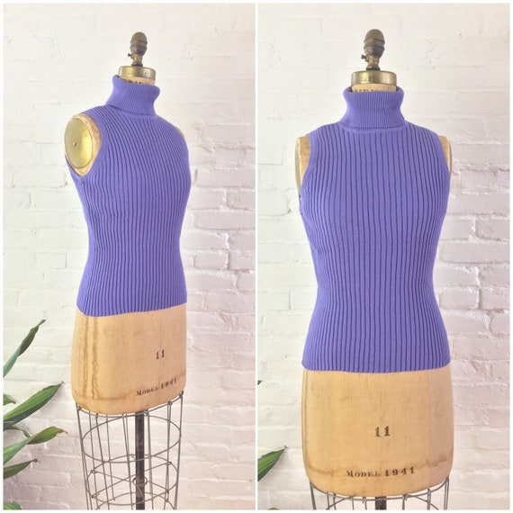 90s y2k minimalist lilac ribbed knit cotton sleeve