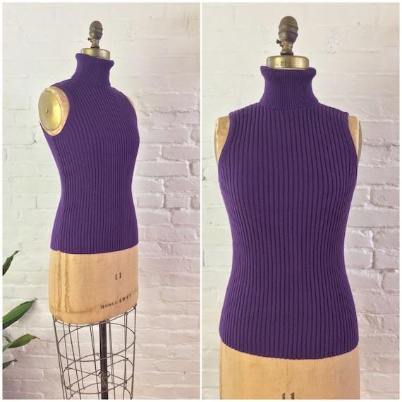 90s y2k minimalist dark purple ribbed knit cotton