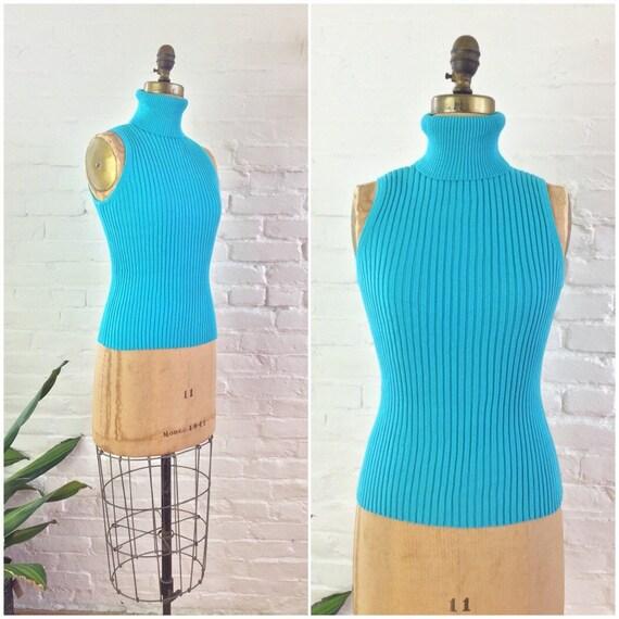 Vintage 90s y2k minimalist sweater turquoise blue
