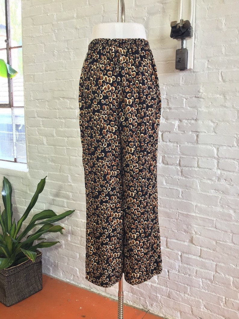 Vintage Rayon Wide Leg Abstract Paisley Print Trousers