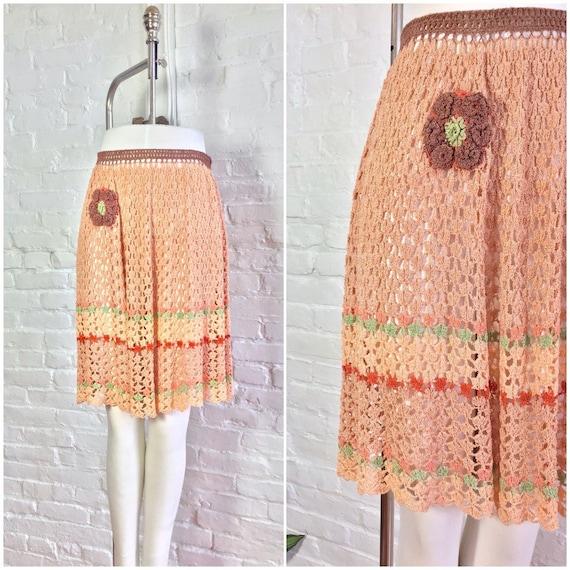 vintage 1930s chenille skirt / 30s crochet spumoni