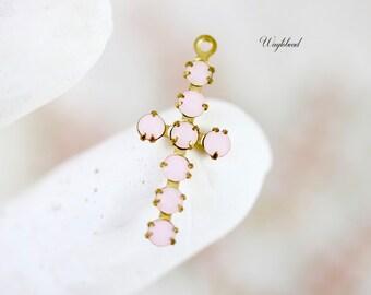1 Rhinestone Daisy Flower Pendant Charm Vintage Austrian Set Stones Raw Brass Setting 30mm AB Pink /& White Alabaster