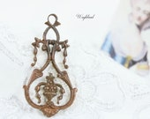 Vintage High End Brass Stamping Intricate Flourish Victorian Art Nouveau Design Earring Drop Necklace Pendant Charm