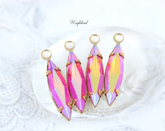 9d61a162e AB Hyacinth 15x4mm Vintage Faceted Navette Stones Swarovski Crystal 1 Ring  Brass Single Settings Earring Drops Iridescent - 4