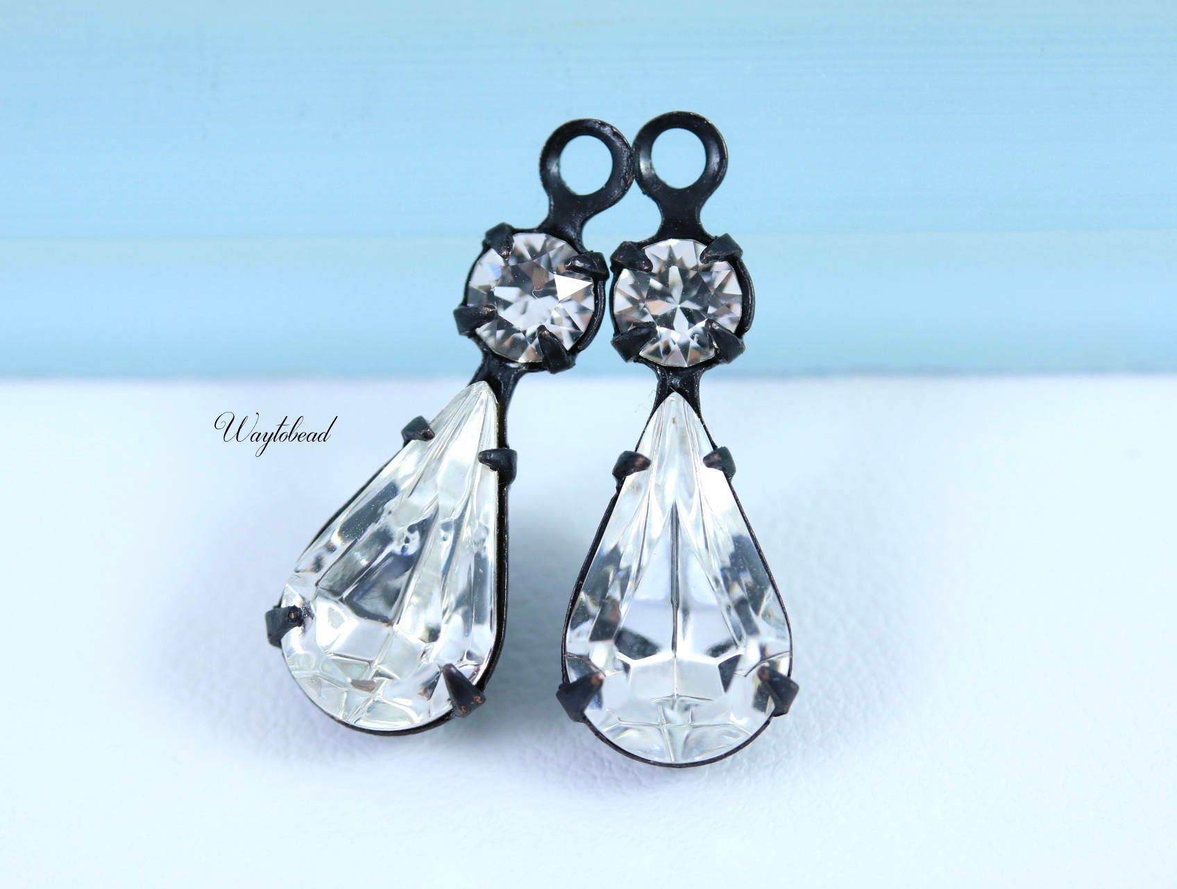 aecf6b0d653d Vintage Glass Drops Pear Shaped Set Stones 1 Ring Black