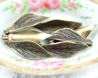 Leaf Dangle Stampings 23x8mm Antique Brass - 6