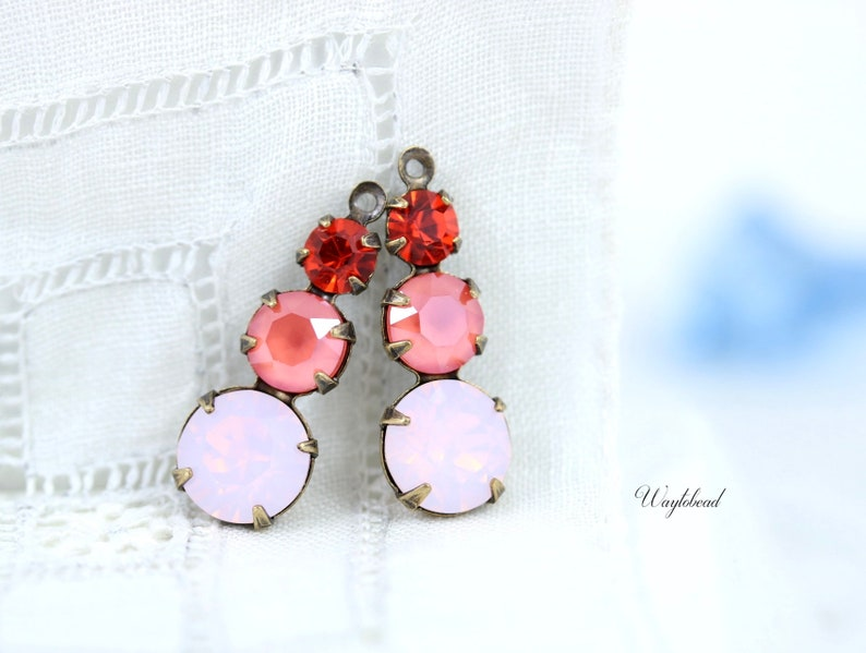 83df6cfc42a69 Set Stones Ox Brass Setting Swarovski Rhinestones Jewelry Finding 23mm  Earring Component Hyacinth Light Coral & Rose Water Opal - 2