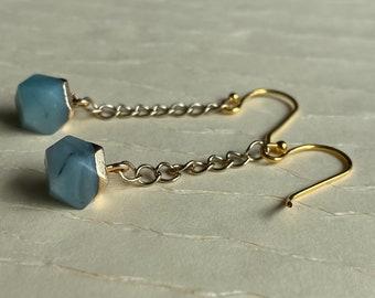 Blue agate chain earrings