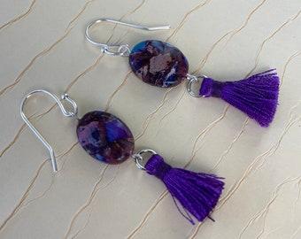 Dyed purple imperial jasper tassel earrings