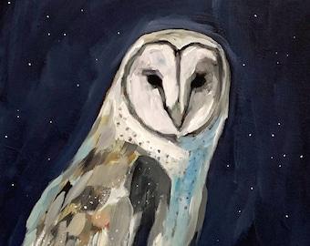 """Fine Art Giclee Print -Barn Owl - 8""""x10"""" on Deep Matte Paper"""