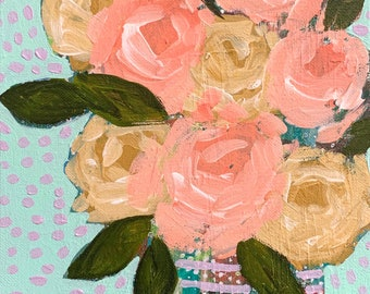 """September Floral No. 6 - Original Painting - Acrylic on 8"""" x 10"""" Canvas"""