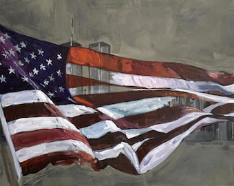 """Original Painting - NYC WTC and American Flag - Mixed Media on 30"""" x 30"""" Canvas"""