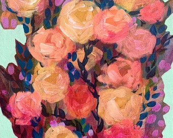 """September Floral No. 5 - Original Painting - Acrylic on 8"""" x 10"""" Canvas"""