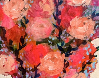 """September Floral No. 2 - Original Painting - Acrylic on 8"""" x 10"""" Canvas"""