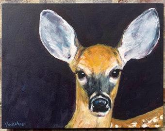 "Original Painting - Deer - Acrylic on 12"" x 16"" Canvas"