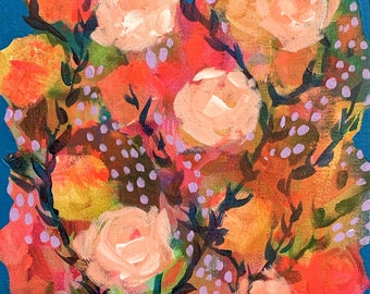 """September Floral No. 8 - Original Painting - Acrylic on 8"""" x 10"""" Canvas"""